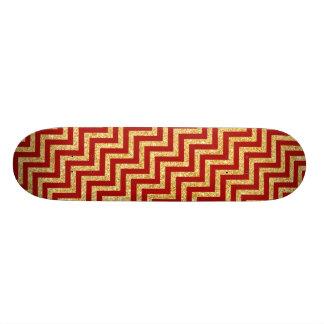 Shape De Skate 18,4cm O ziguezague vermelho do brilho do ouro listra o