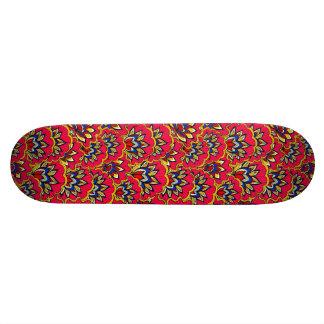 Shape De Skate 18,4cm Teste padrão floral vibrante vermelho asiático