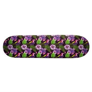 Shape De Skate 18,4cm Teste padrão tropical roxo preto da aguarela da