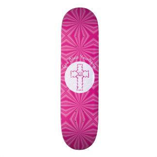 Shape De Skate 18,7cm Branco transversal cristão do ziguezague do rosa