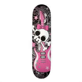 Shape De Skate 18,7cm Crânio feminino com guitarra cor-de-rosa