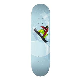 Shape De Skate 18,7cm Snowboarder de salto no fundo azul