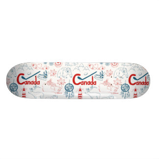 Shape De Skate 18,7cm Teste padrão dos símbolos de Canadá |