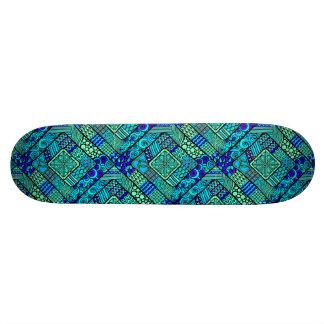Shape De Skate 19,7cm Do abstrato verde do azul de Boho teste padrão