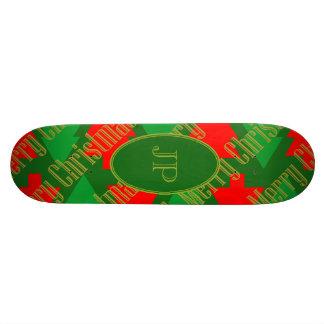 Shape De Skate 19,7cm Monograma vermelho festivo da árvore de Natal do