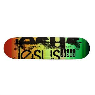 Shape De Skate 20,6cm Jesus; Verde, alaranjado vibrantes, & amarelo