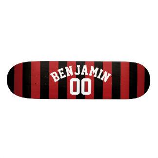 Shape De Skate 20,6cm O jérsei preto e vermelho do rugby listra o número