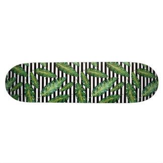Shape De Skate 20,6cm O preto listra o teste padrão tropical do verão da