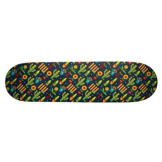 Shape De Skate 21,6cm Girassol do cacto no teste padrão azul de Festa
