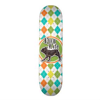 Shape De Skate 21,6cm Pug engraçado; Teste padrão colorido de Argyle
