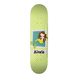 Shape De Skate 21,6cm Sereia; Listras do verde limão & do branco