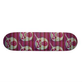 Shape De Skate 21,6cm Skateboard. cor-de-rosa do crânio