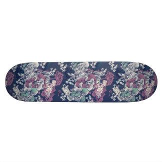 Shape De Skate 21,6cm Teste padrão artística do esboço floral roxo azul