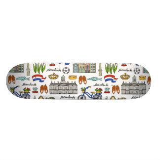 Shape De Skate 21,6cm Teste padrão do Doodle de Netherland