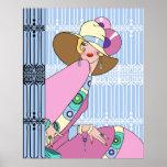 Shelby, senhora do 1920 no azul e no rosa impressão
