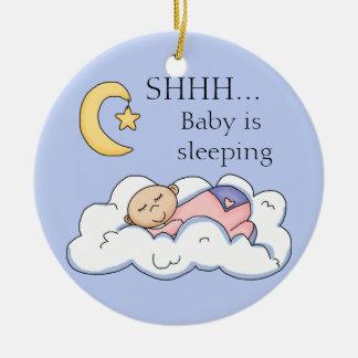Shhh gancho de porta do sono do bebê ornamento de cerâmica redondo