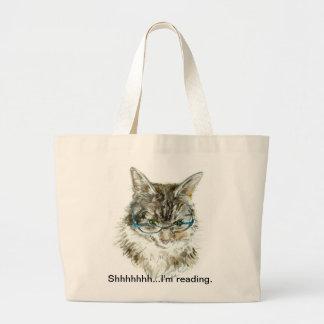 """""""Shhhhhh… eu estou lendo"""" a sacola com CAT Bolsa Para Compras"""