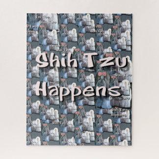 Shih Tzu acontece quebra-cabeça de serra de vaivém