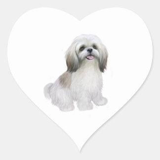 Shih Tzu - branco com cinzento-tan Adesivo Coração