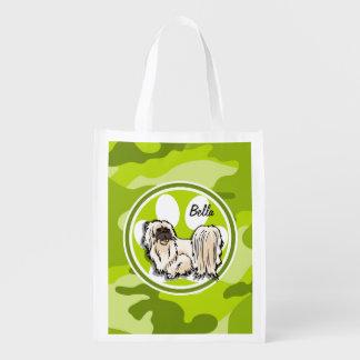 Shih Tzu; camo verde-claro, camuflagem Sacola Ecológica Para Supermercado