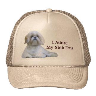 Shih Tzu eu Adore o chapéu Boné
