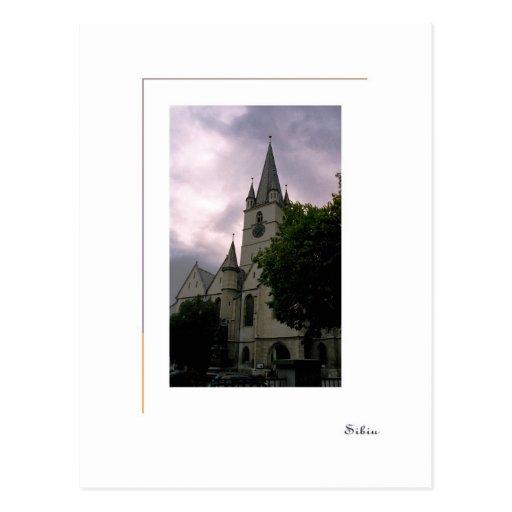 Sibiu, Romania - igreja evangélica Cartão Postal