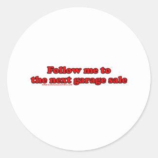 Siga-me à venda de garagem adesivo