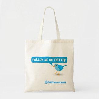 Siga-me em sacolas azuis do orçamento do pássaro sacola tote budget