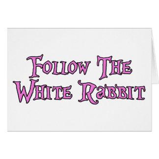Siga o coelho branco cartão comemorativo