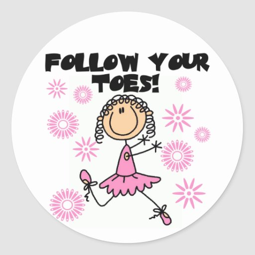 Siga seus camiseta e presentes da bailarina dos adesivo em formato redondo