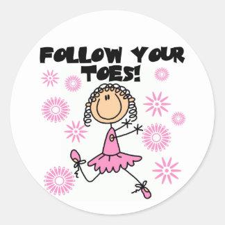 Siga seus camiseta e presentes da bailarina dos de adesivo em formato redondo
