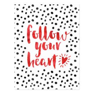 Siga suas citações do coração cartão postal