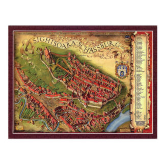 Sighisoara, mapa da representação pictórico cartões postais