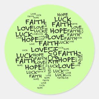 Significado do trevo de quatro folhas: Esperança, Adesivo Redondo