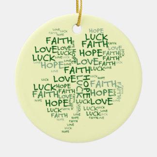 Significado do trevo de quatro folhas: Esperança, Ornamento De Cerâmica Redondo