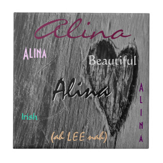 Significado irlandês conhecido de Alina com Azulejo Quadrado Pequeno