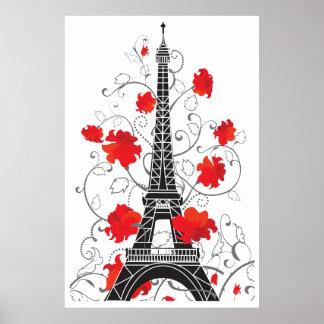 Silhueta à moda elegante da torre Eiffel de Paris Pôster