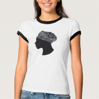 Silhueta africana bonita da mulher camiseta