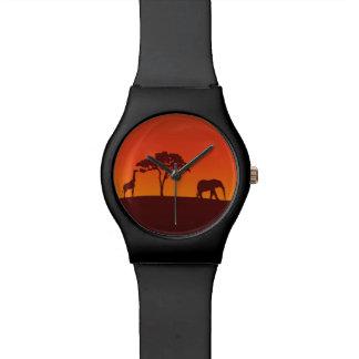 Silhueta africana do safari - relógio de May28th