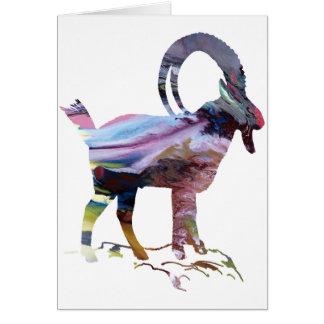 Silhueta alpina abstrata do íbex cartão comemorativo