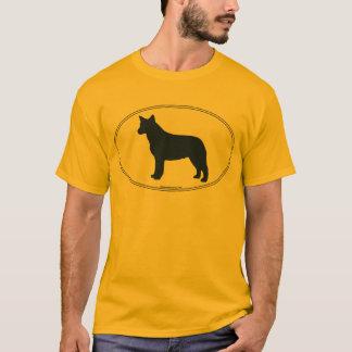 Silhueta australiana do cão do gado camiseta