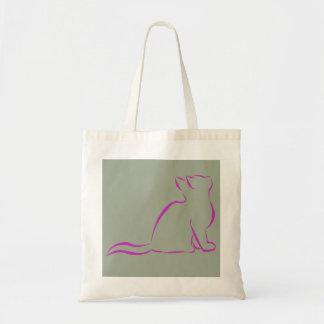 Silhueta cor-de-rosa do gato bolsa tote