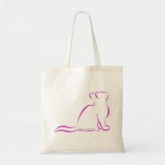 Silhueta cor-de-rosa do gato, texto interno bolsa tote