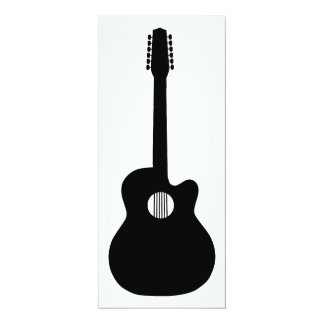 silhueta da guitarra acústica convite 10.16 x 23.49cm