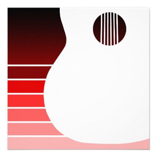 silhueta da guitarra acústica: o vermelho desvanec convites