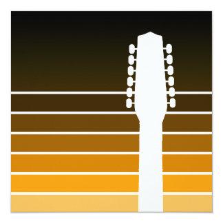 silhueta da guitarra elétrica: o âmbar convite quadrado 13.35 x 13.35cm