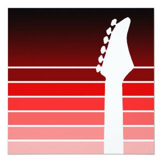 silhueta da guitarra elétrica: o vermelho convites personalizado