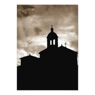 Silhueta da igreja convite 12.7 x 17.78cm