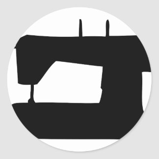 silhueta da máquina de costura adesivo redondo