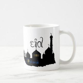 Silhueta da mesquita de Eid Mubarak - caneca